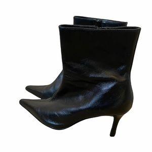 BATA Black Pointed Toe Low Heel Short Boot 8